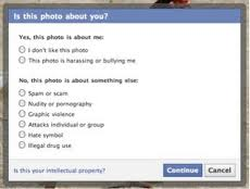 Facebook options for reporting
